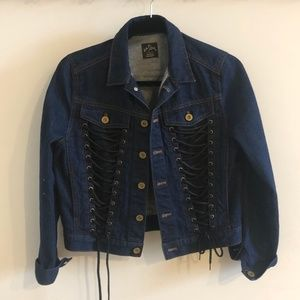 Denim Jacket with Laced Detail